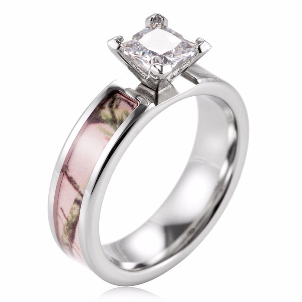Ladies Camo Engagement Ring Pink Realtree Titanium Wedding Prong Setting CZ Crystal For