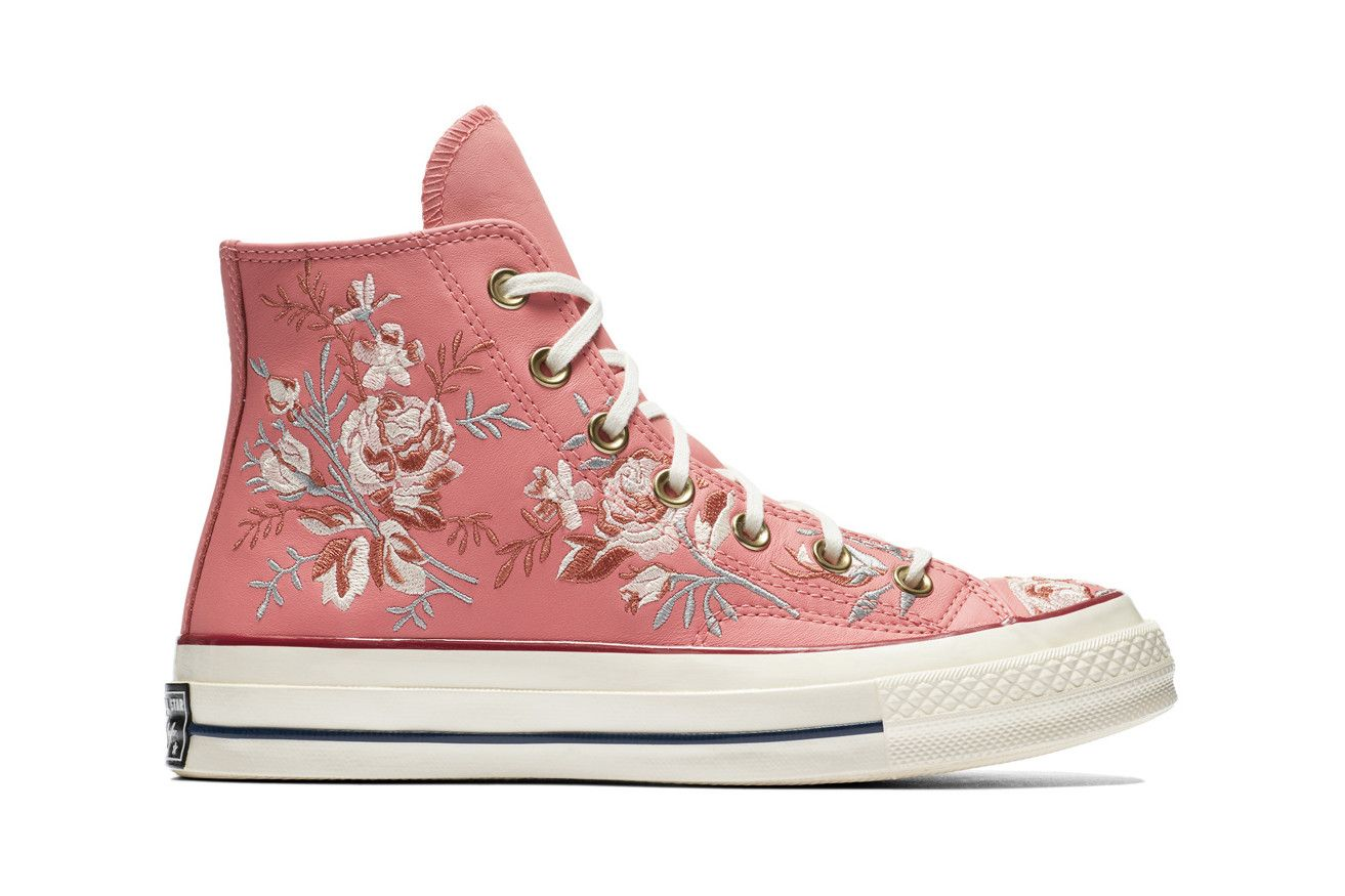 aad3d49be57d Converse Chuck 70 Leather Embroidered Floral Sneakers Turmeric Gold Punch  Coral Pink Washed Denim Obsidian Blue Papyrus Beige Driftwood White