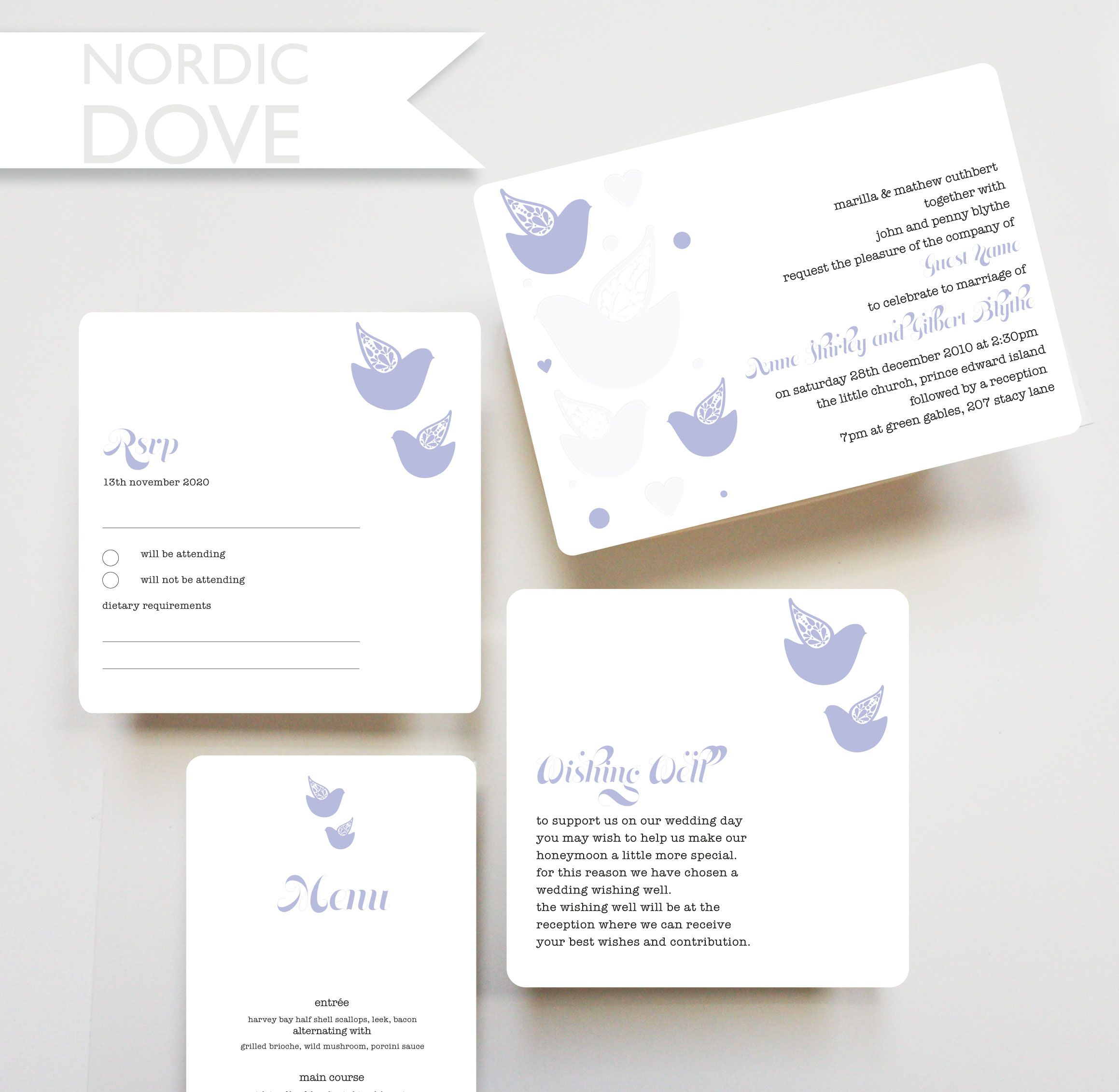Nordic Dove, Invitation, RSVP Card, Wishing Well Card