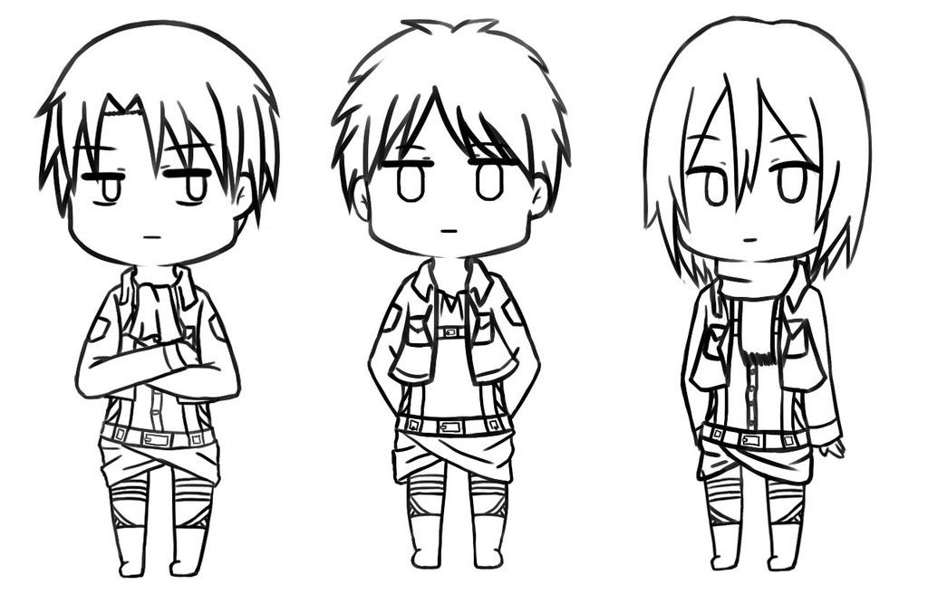 Attack On Titan Chibi Pages Coloring Pages