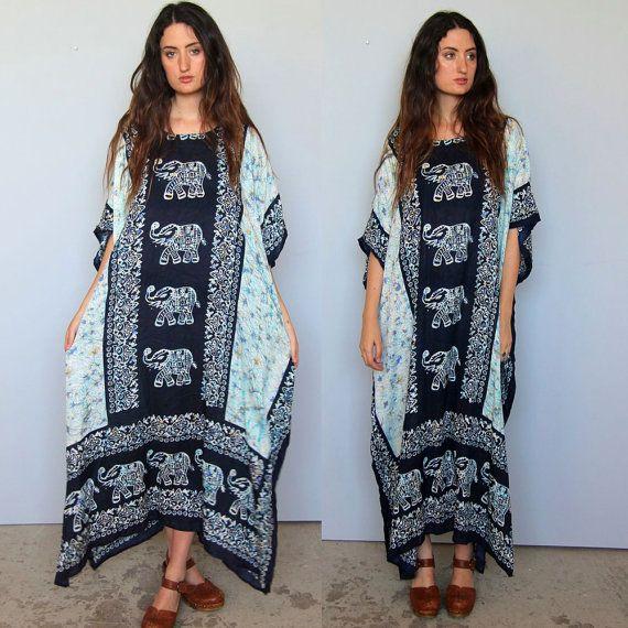 perpetual summer -- vintage indian muumuu caftan dress S/M/L OSFA ...