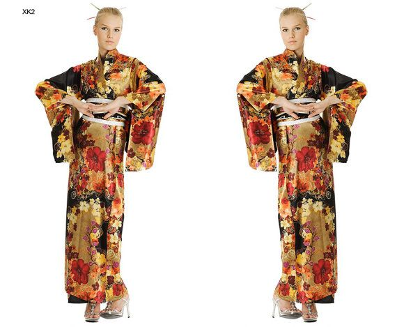 Japanese Woman Geisha Yukata Kimono Satin for boat section
