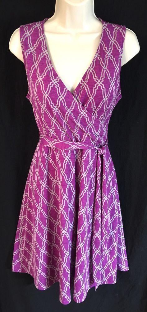 41 Hawthorn Dress SZ Medium Stitch Fix Kassidy Faux Wrap Purple Gray Geo Print #41Hawthorn #WrapDress #Casual