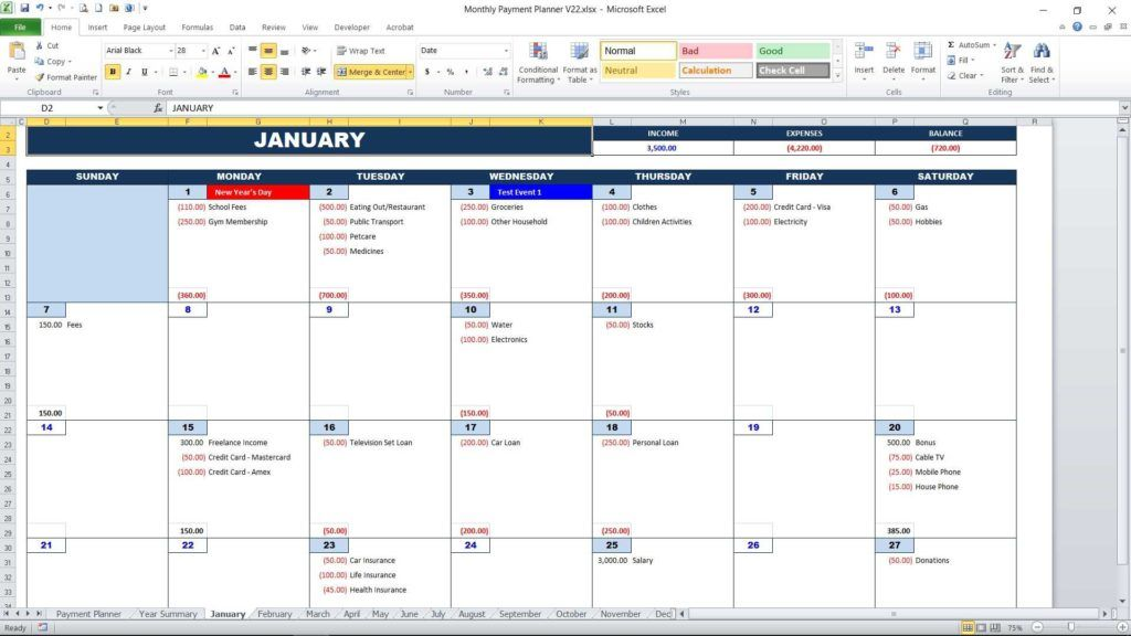 Personal Monthly Payment Planner - Calendar View Important