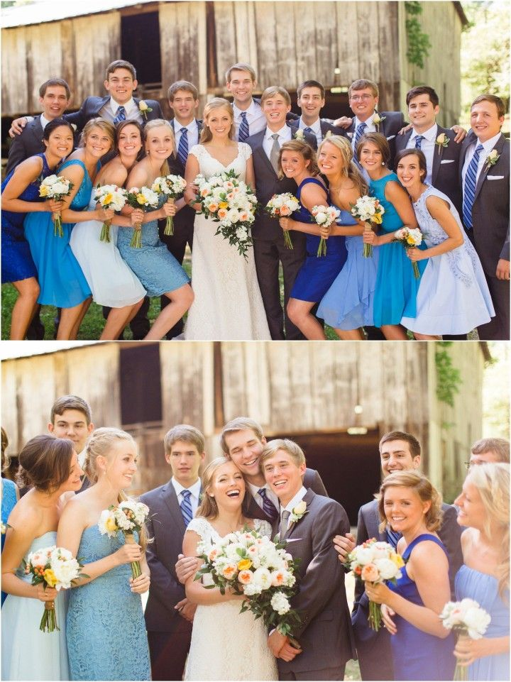 fall bridal party pictures%0A Large wedding party