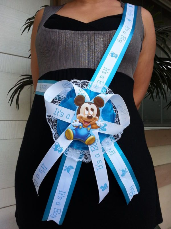 Baby Shower Mickey Mouse Mom To Be It S A Boy Sash Blue Ribbon With