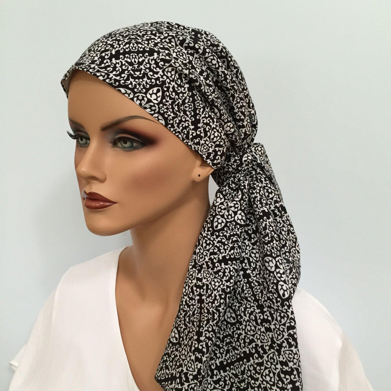 Jessica Pre-Tied Head Scarf, Women's Cancer Headwear, Chemo Scarf, Alopecia Hat, Head Wrap, Head Cover for Hair Loss - Black White Filigree #tieheadscarves