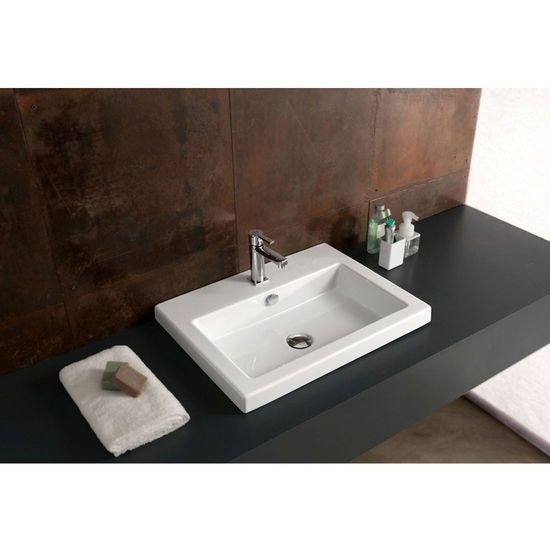 Nameeks Built In Or Wall Mounted Ceramic Washbasin With Overflow 23 3 5 Inch W X 17 7 Ceramic Bathroom Sink Contemporary Bathroom Sinks Drop In Bathroom Sinks