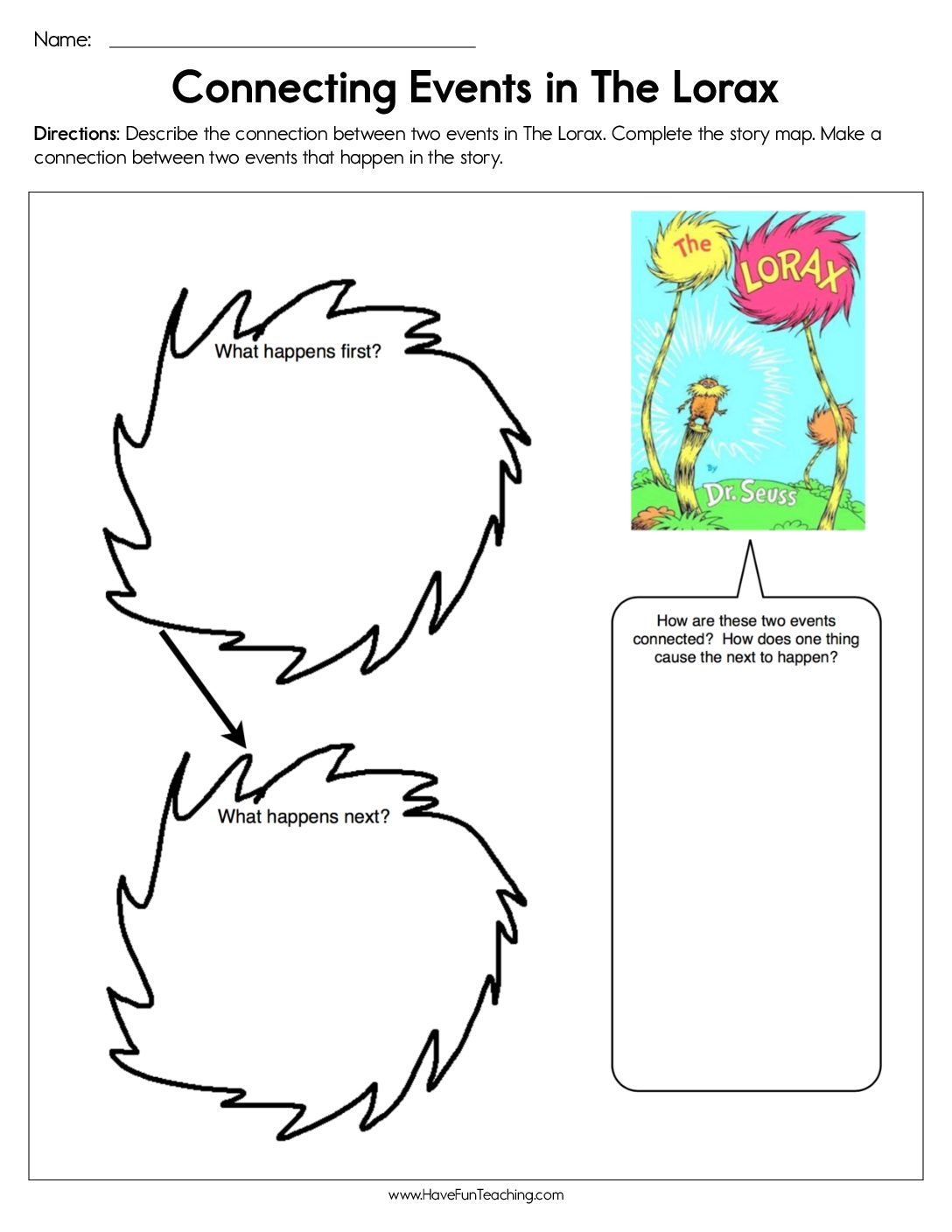 Connecting Events In The Lorax Worksheet