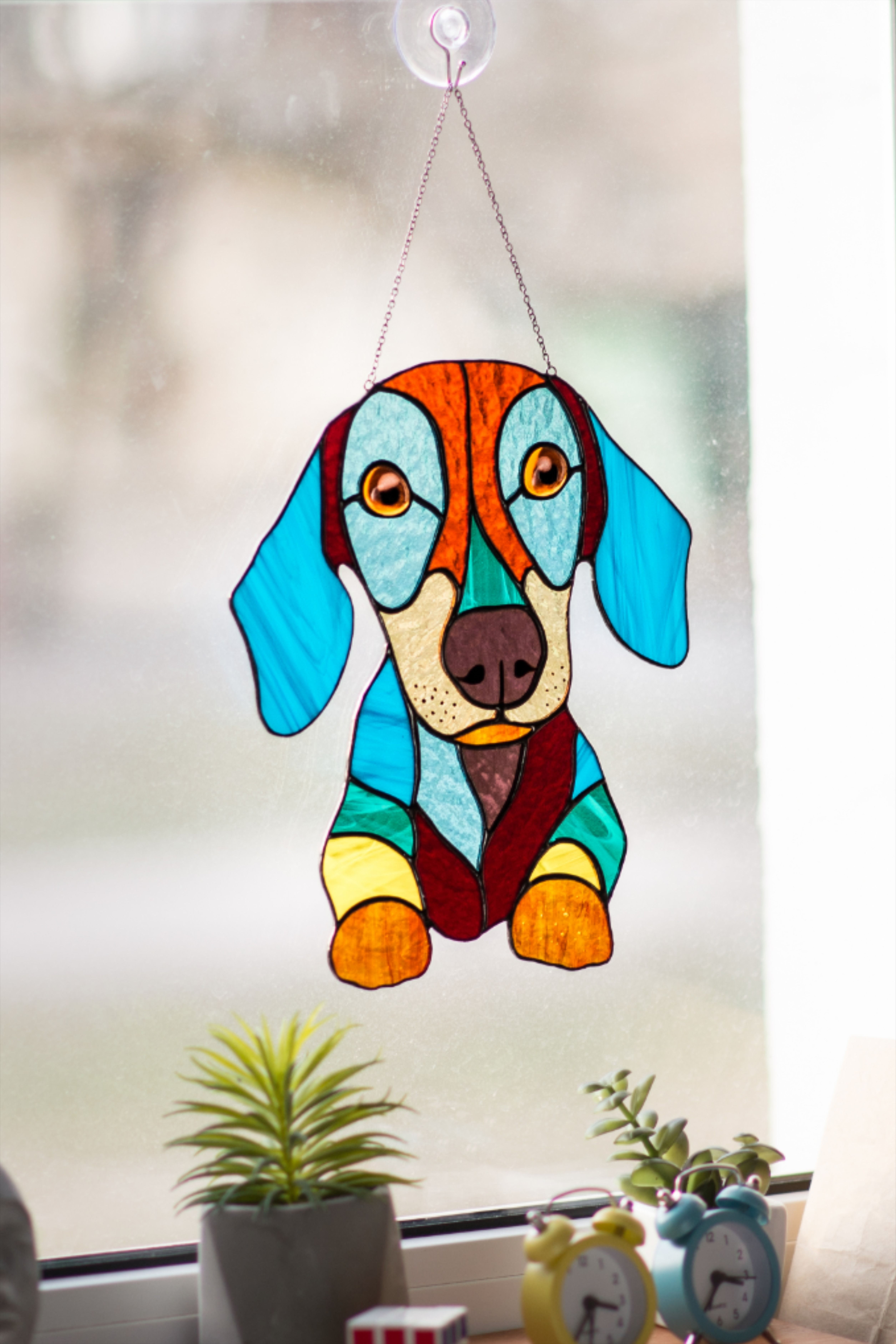 """2 I Love My CHIHUAHUA  Stained Glass Style Sun Catcher Ornament 3 1//2/"""""""