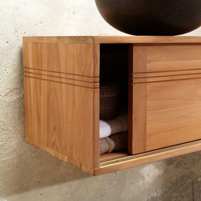 meuble salle de bain suspendu bois de