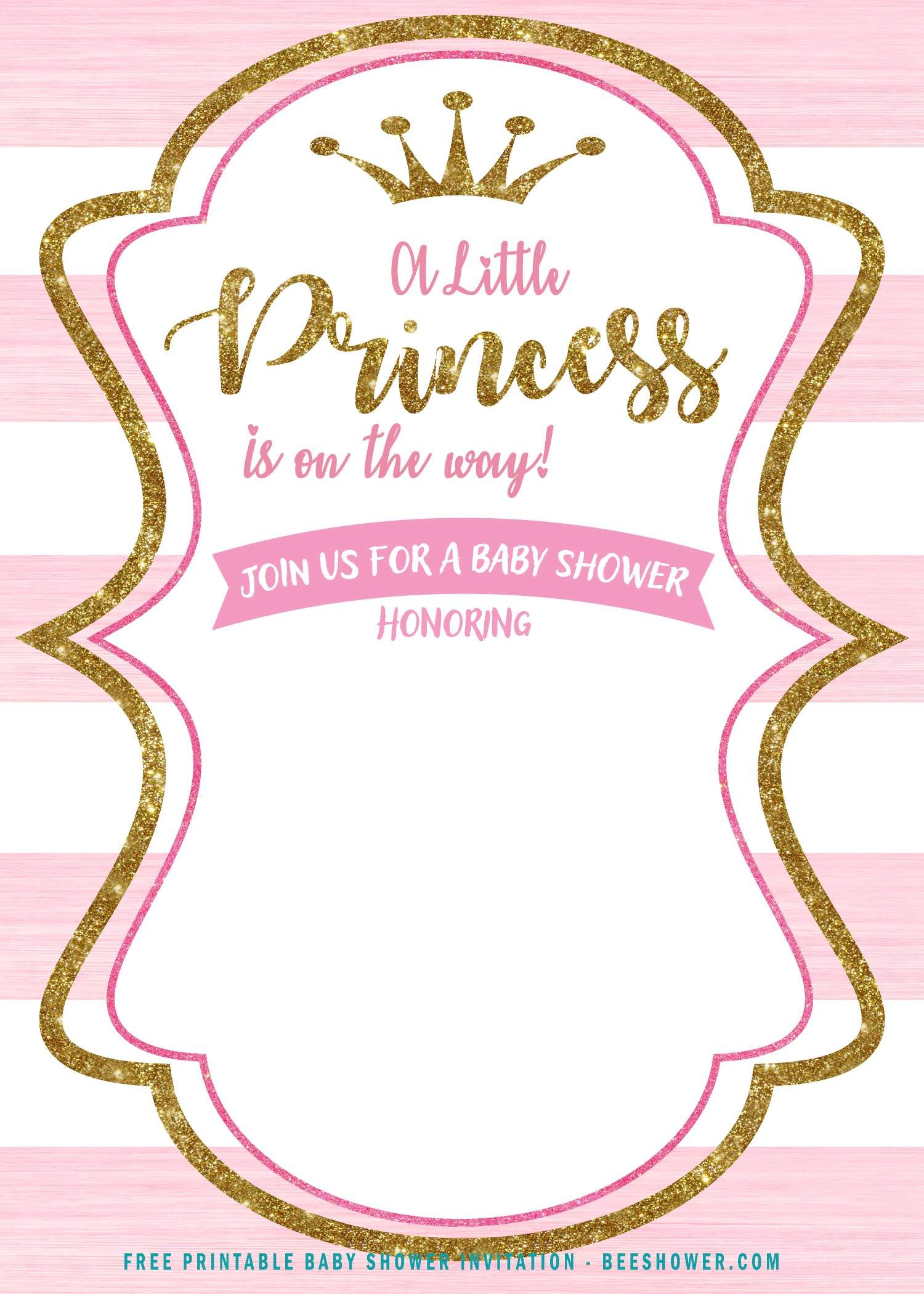 Free Pink And Gold Princess Baby Shower Invitation Princess Baby Shower Invitation Gold Baby Shower Invitations Baby Shower Princess