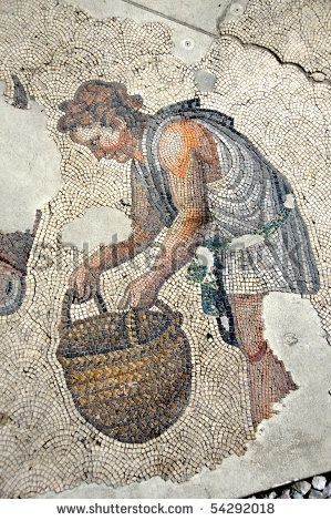ancient roman mosaic of a man carrying a basket from the remains of the Great Palace at Constantinople