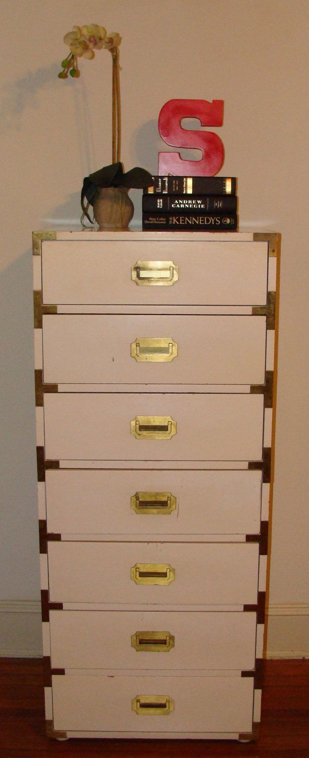 Vintage Iconic Tall Campaign Dresser All Original 7 Drawer Hollywood Regency Chest Of Drawers Sold