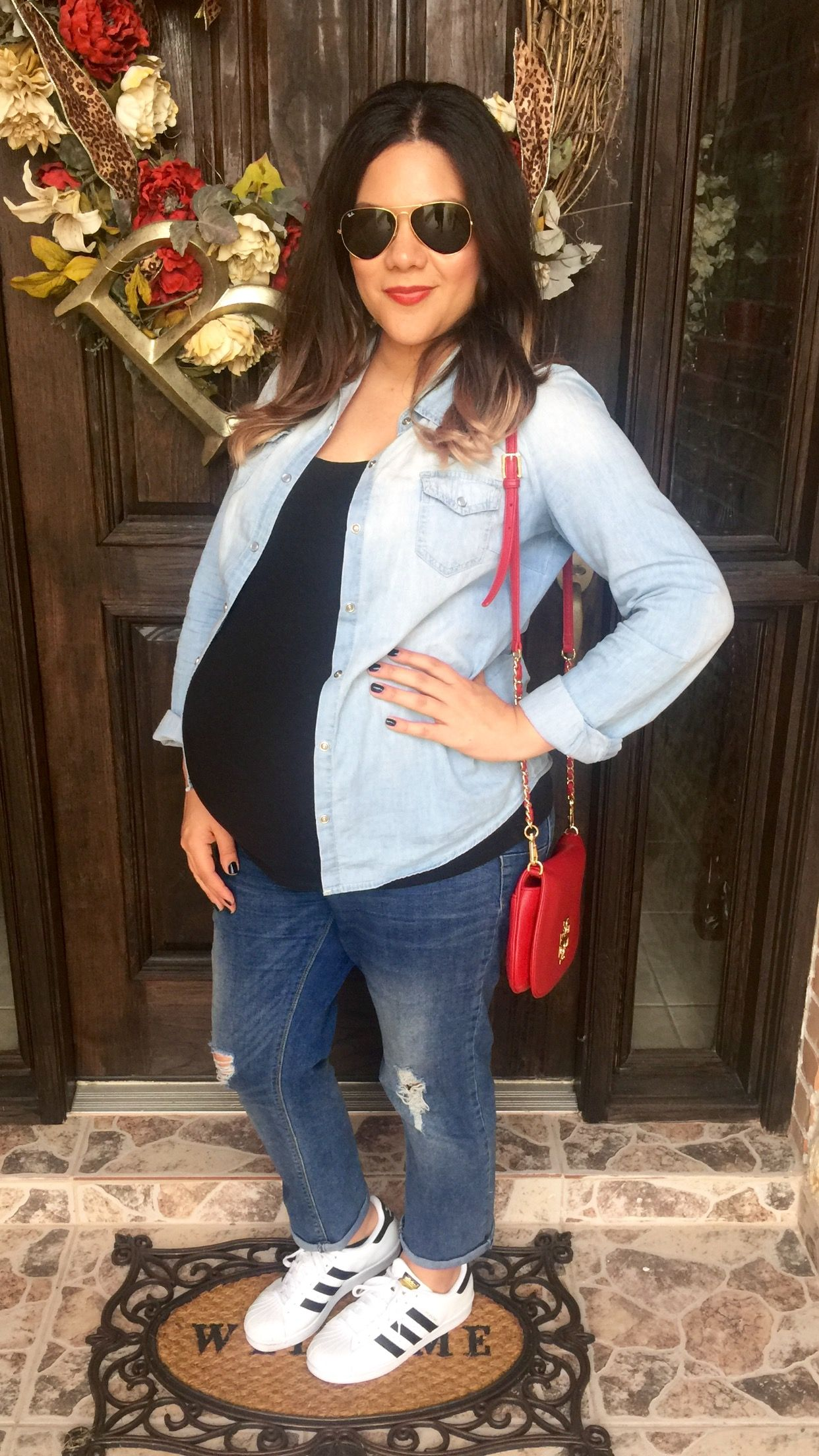 1a976881b54 Maternity outfit of the day | denim | chambray shirt | black tee | blue  jean | boyfriend | jeans | pregnancy | mommy | ideas | Adidas | superstar |  tennis ...