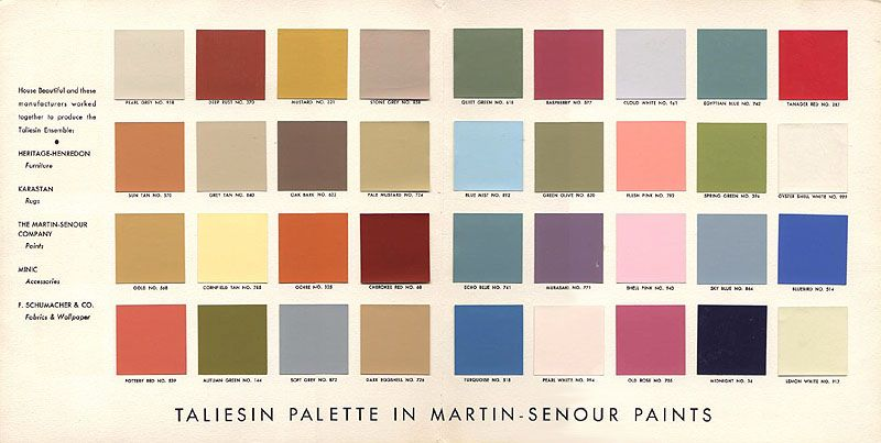 Frank Lloyd Wright Taliesin Palette Secret Design Studio