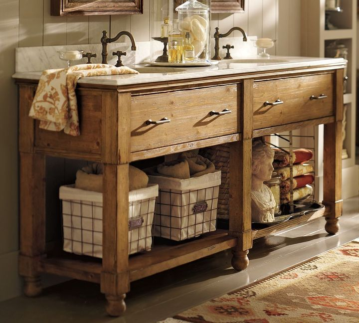 Add Towel Bars To Old Farmhouse Tables For Unique Vanities