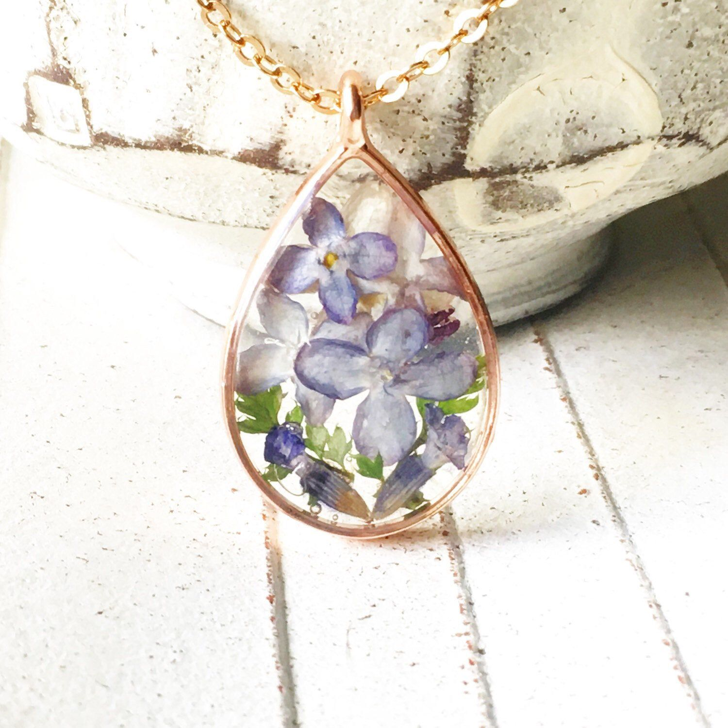 Cchenrydesigns Shared A New Photo On Etsy In 2020 Purple Flower Necklace Dried Flower Jewelry Lavender Jewellery