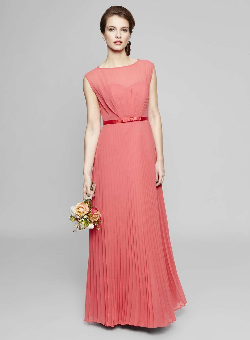 Deep Coral Primrose Pleated Skirt Bridesmaid Dress - BHS | bouquets ...