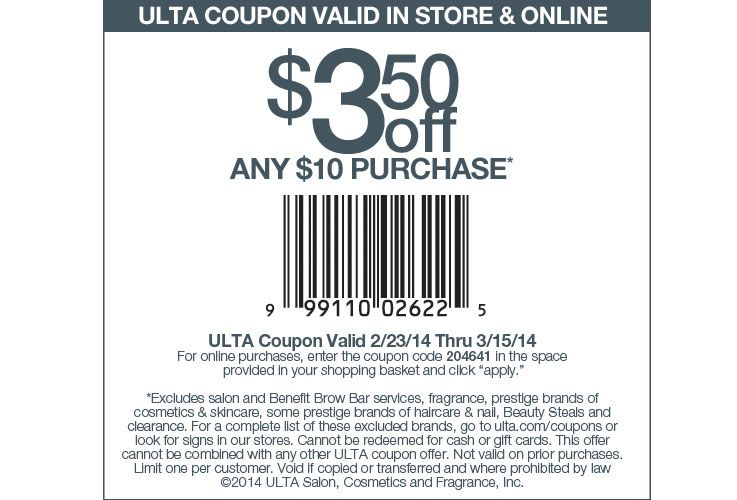 Ulta Beauty 3 50 Off 10 Printable Coupon Ulta Coupon Jcpenney Coupons Retail Coupons