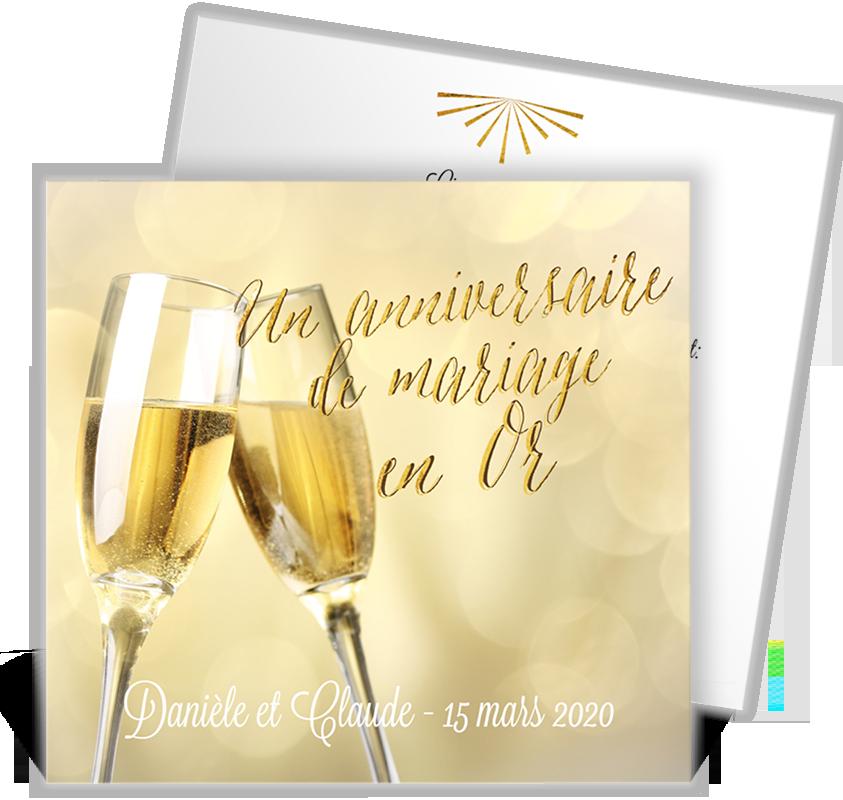 invitation anniversaire de mariage pour faire la f te pour vos noces d 39 or ref n311131. Black Bedroom Furniture Sets. Home Design Ideas