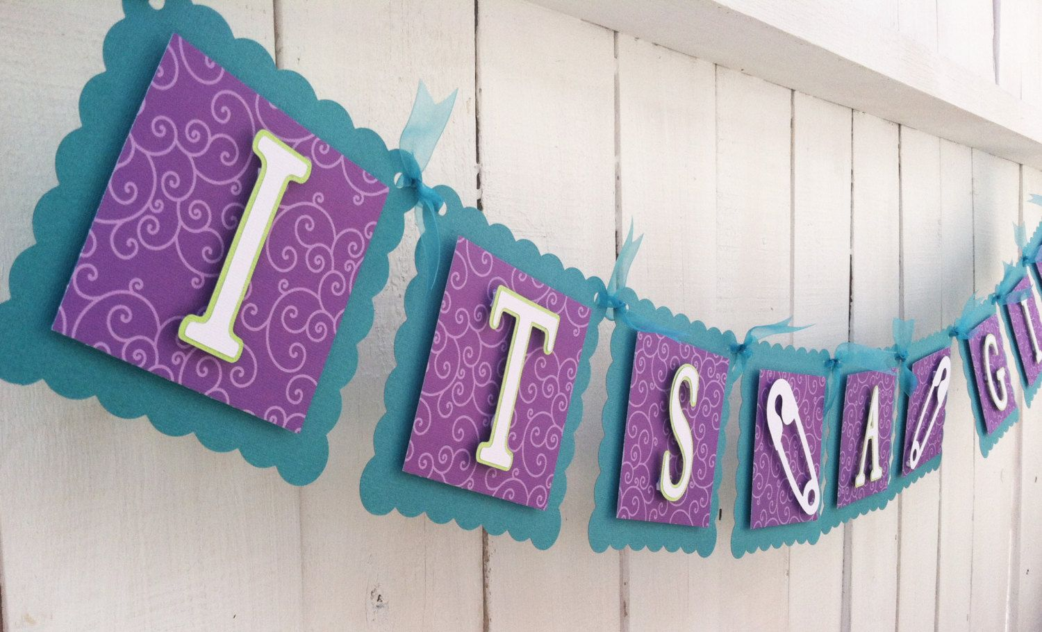 itu0027s a girl peacock color purple and teal baby shower banner
