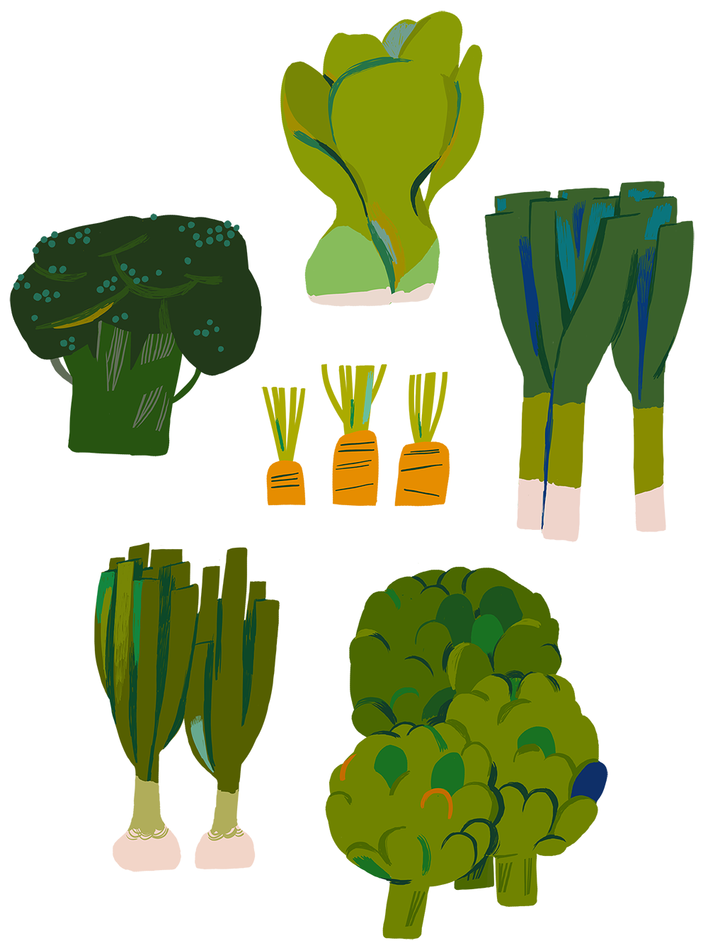 The Vegetable Forest on Behance Vegetable illustration