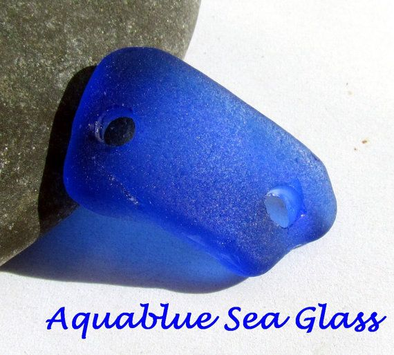 DOUBLE DRILLED  GENUINE Sea Glass  Cobalt For by aquablueseaglass, $11.99