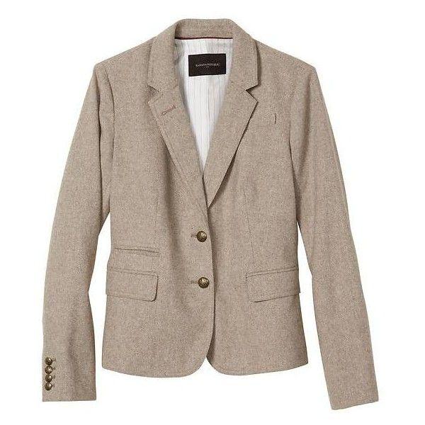 7043db0fc Banana Republic Women Factory Tweed Academy Blazer ($120) ❤ liked ...