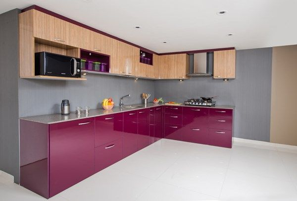 An Lshape Kitchen Provides A Continuous Working Platform Making Awesome Designs Of Modular Kitchen Photos 2018