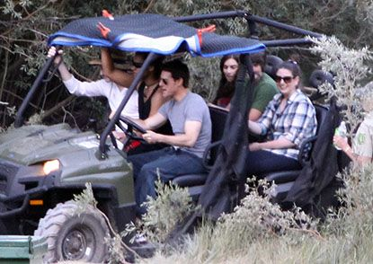 During filming breaks movie star Tom Cruise gave his 17-year-old son Connor a tour of June and Mammoth Lakes in a 4x4 off-road UTV.