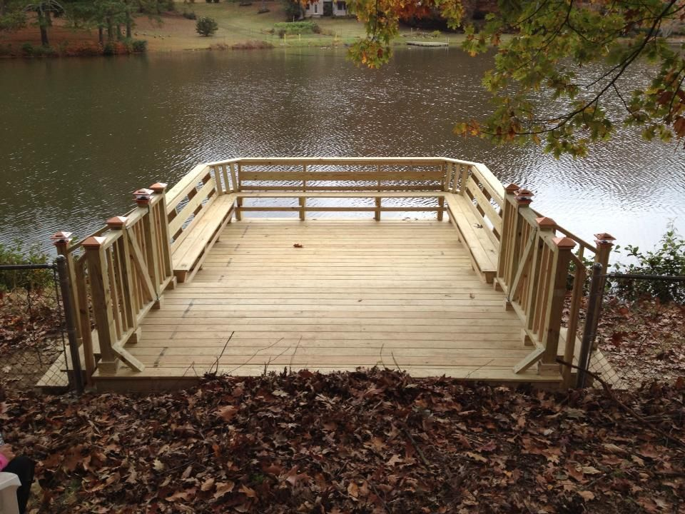 Dock 18x12 With 6foot Cantilevered Over Water Built In Seating And Lake Access Gates On Either Side Built In Seating Florida Home Deck Over