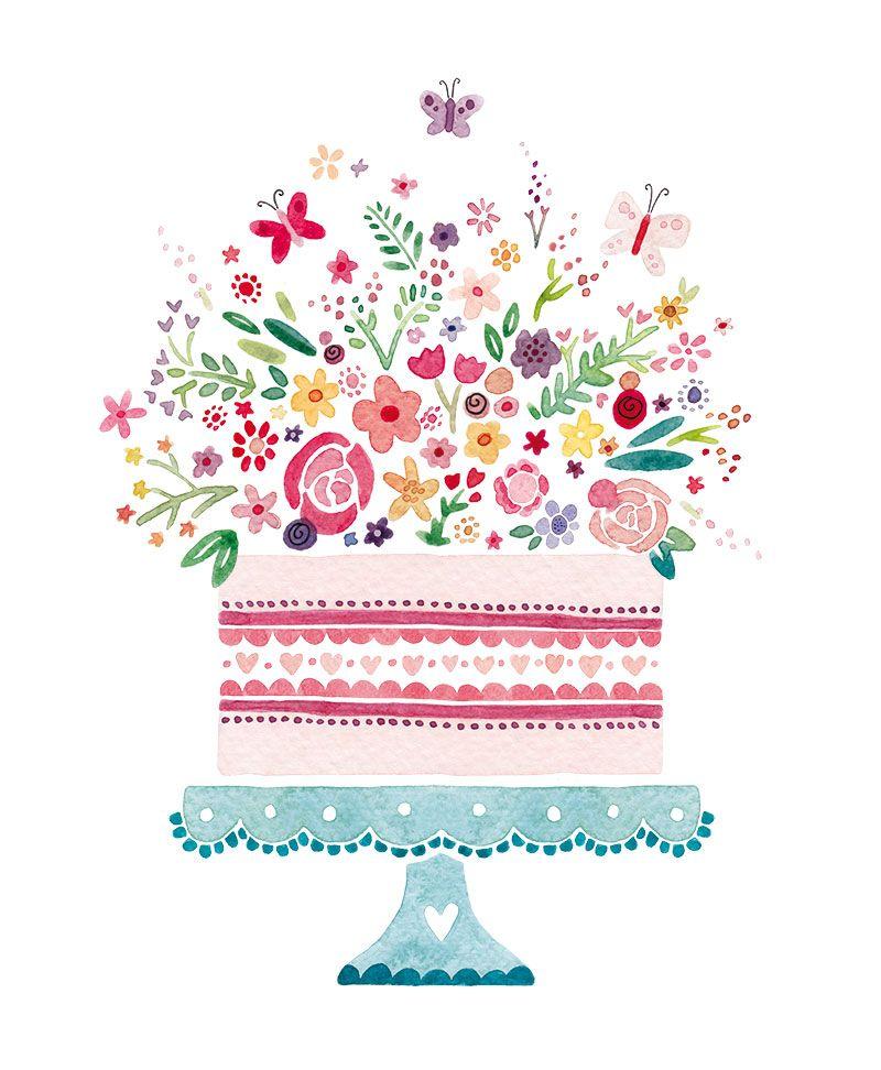 Cake And Flowers Jpg 800 972 Pixels Birthday Cake Illustration French Illustration Cake Illustration