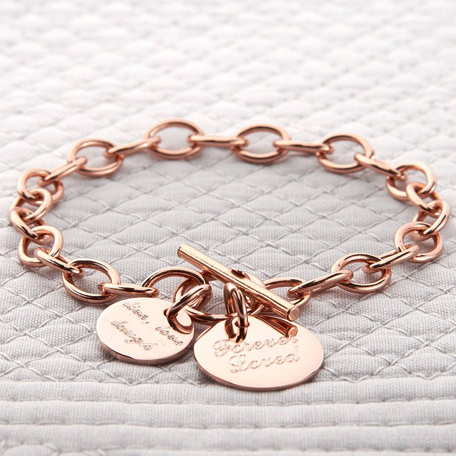 969a25feba6c6 Personalised Rose Or Yellow Gold Charm Chain Bracelet in 2019 ...