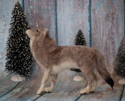 Needle Felted Gray Wolf Woodland Forest Animal Wool Art Sculpture Nature  | eBay #needlefeltedcat