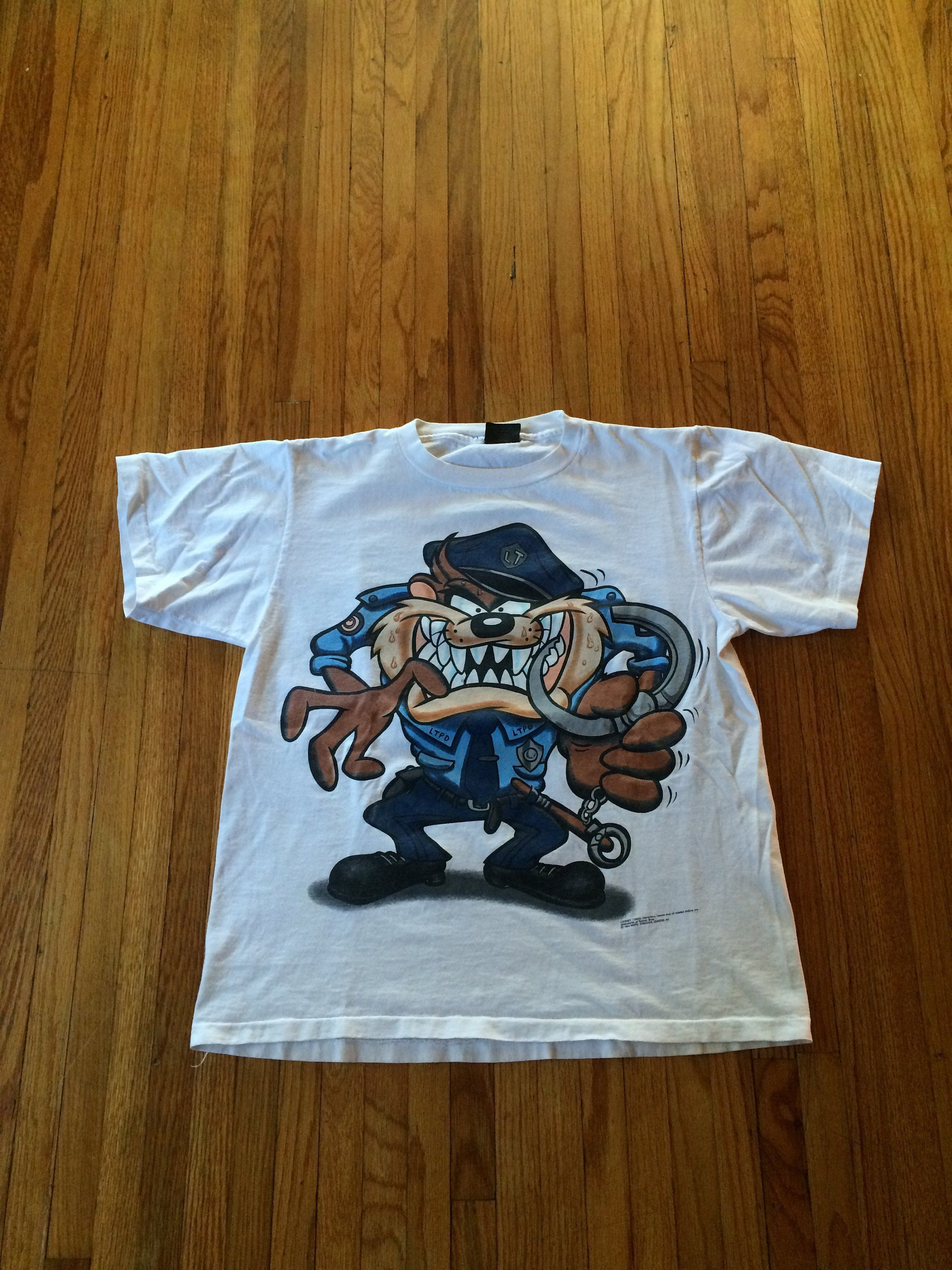 f62d7d590830 Vintage 90 s Looney Tunes Taz Looney Tunes Police Officer Double Sided  Print T-Shirt (free shipping) by VintageVanShop on Etsy