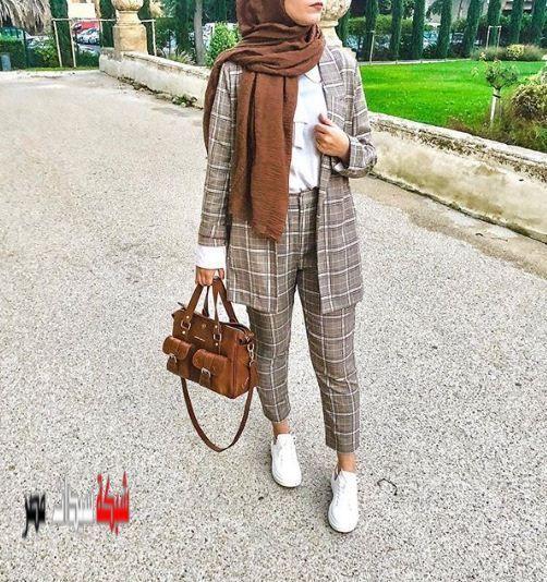 2020 لعام موضة البناطيل الكاروهات البنطلون البنطلون الكاروهات الجانجام الجديدة الرخام Hijabi Outfits Casual Muslim Fashion Outfits Muslim Fashion Hijab