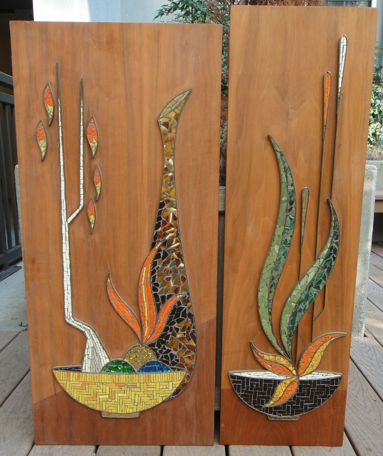 Mid century modern tile mosaic still life wall hangings pinned from