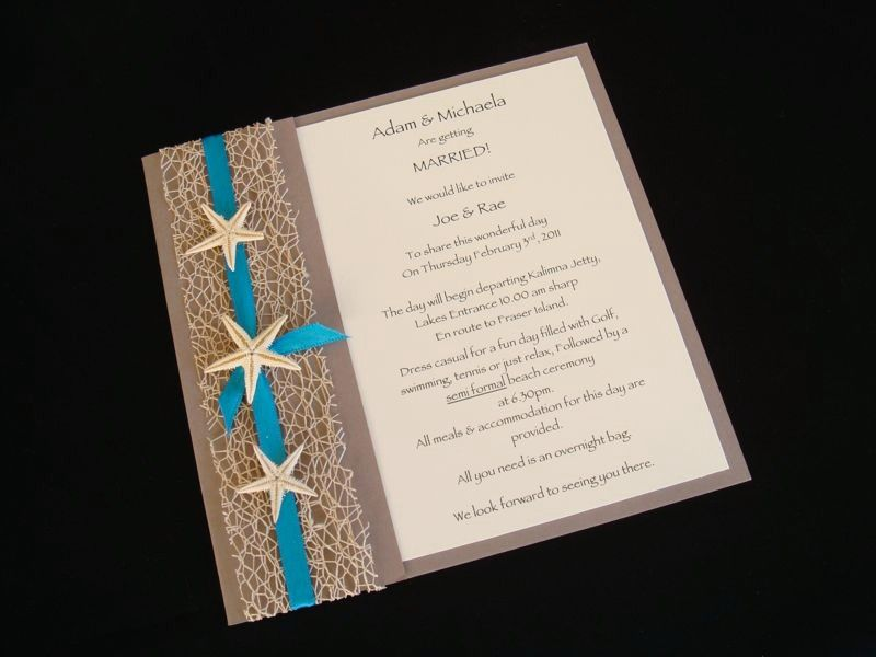 Teal Beach Wedding Invitations