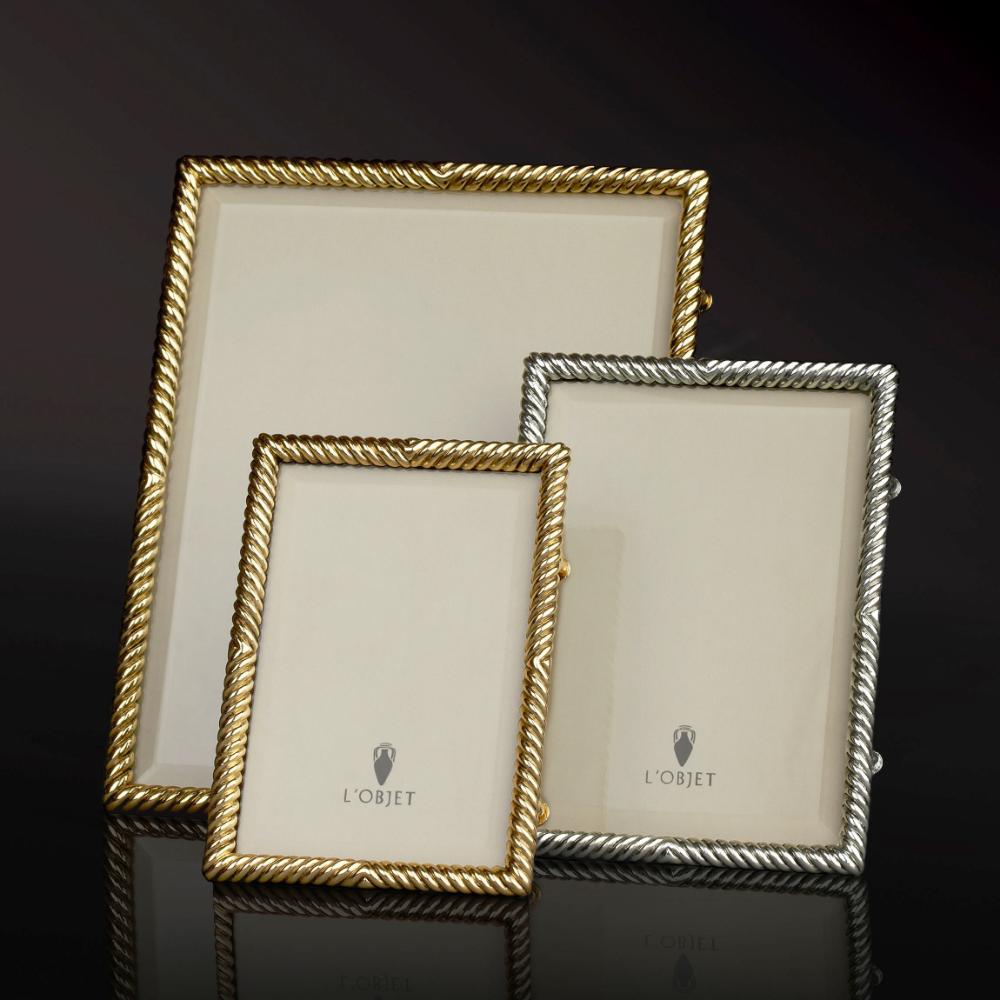 Deco Twist Frame 4x6 Gold L Objet Glass Photo Frames L Objet Beveled Glass