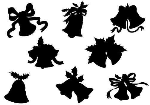 Christmas Bell Ornament Silhouette Vector ...