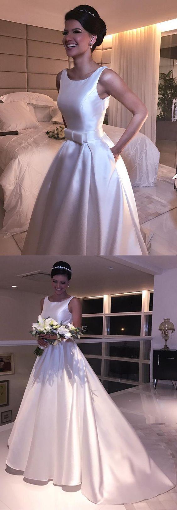 Vintage aline scoop neckline open back satin wedding dresses