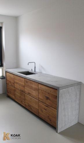 Wunderschöne Küche aus Beton und Holz DIY-Arbeitsplatte zum - arbeitsplatte holz küche