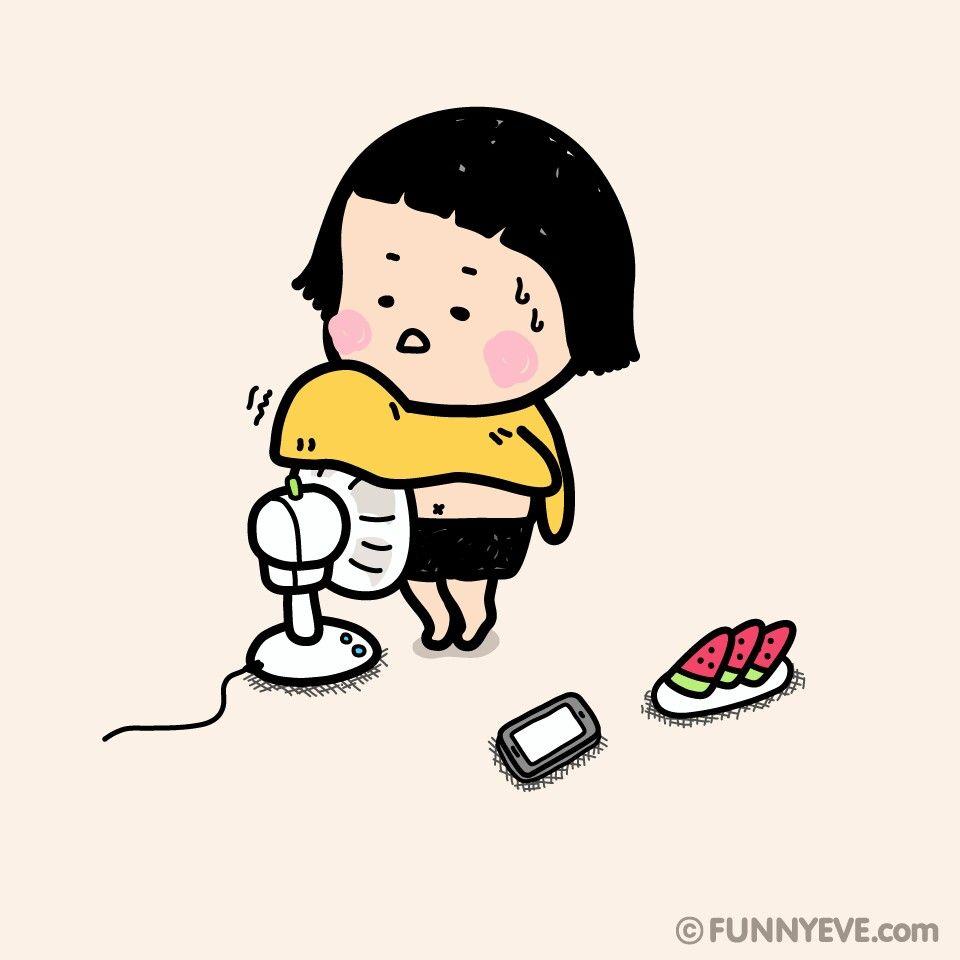 Jugar Con El Ventilador Por El Calor Gif Kawaii Dibujos Kawaii Ilustraciones