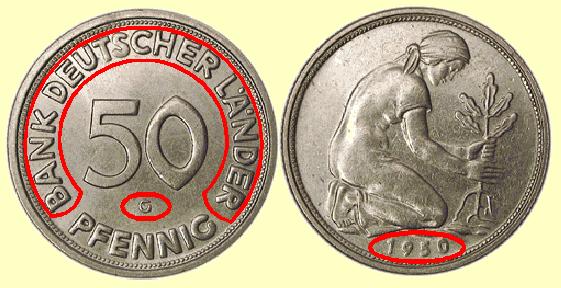 Numismatics, 50 Pfennig, Bank Deutscher Länder, 1950 G