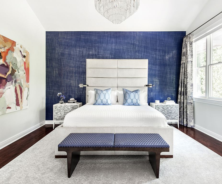 Contemporary Master Bedroom With Custom Curtains In Edith Violet Fabric By Donghia Carpet Milano 2 Drawer Nightstand