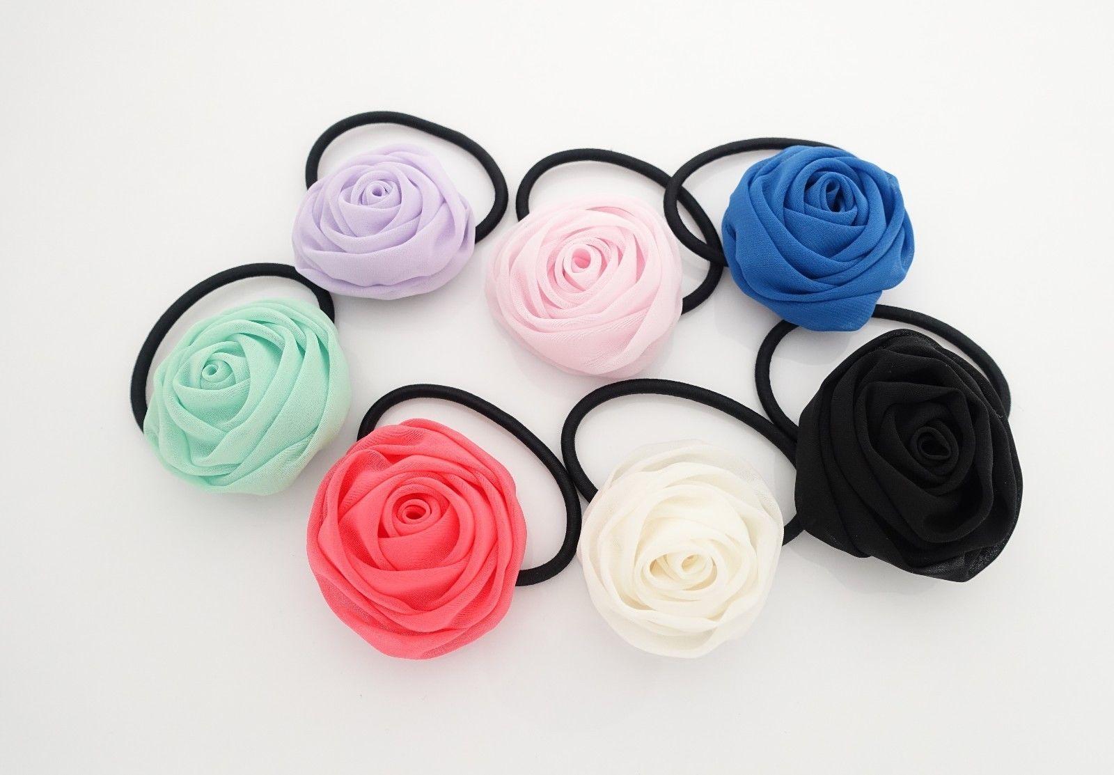 chiffon mini rose decorated hair elastic ponytail holder flower hair ties