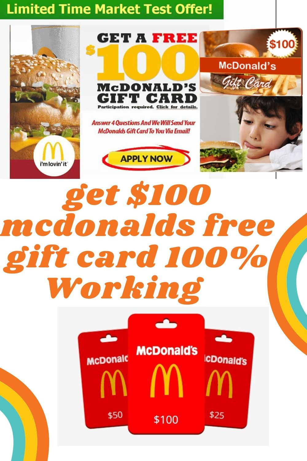 Get 100 Mcdonalds Free Gift Card 100 Working In 2020 Mcdonalds Gift Card Google Play Gift Card Gift Card