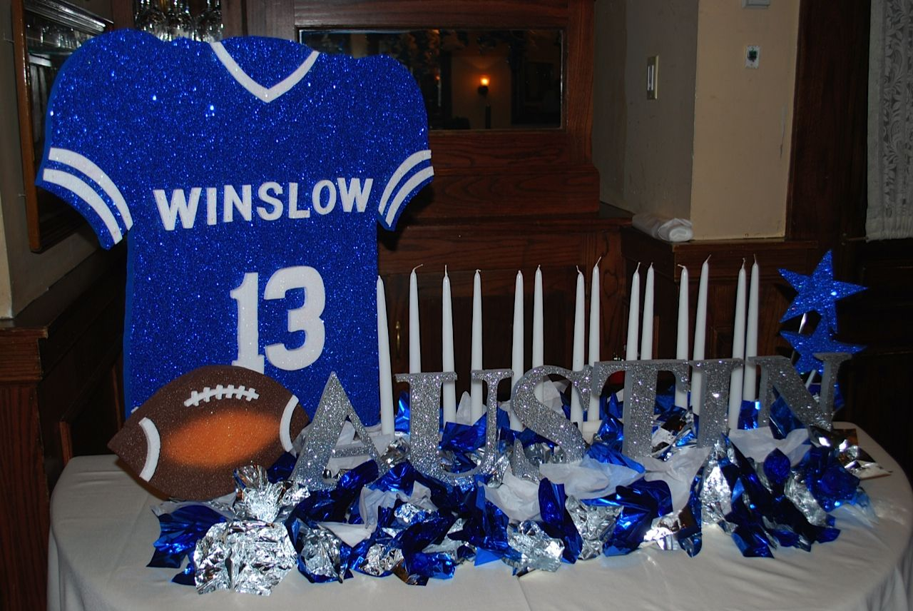 Football Themed Bar Mitzvah Candle Lighting Display Party