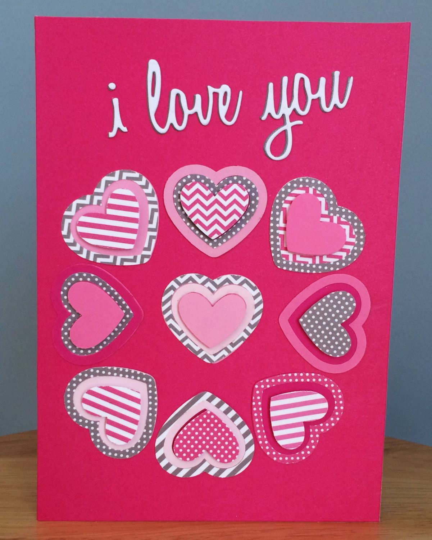I love you valentines day handmade card with 3d hearts circle of i love you valentines day handmade card with 3d hearts circle of herats handmade valentines card happy valentines day pink card by treasureislandcards m4hsunfo